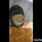 Torturing Scat Slave With Shit And A Hand On His Face During Scat Humiliation