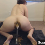 Girl Gets Fucked By A Machine Shits All Over The Dildo And On The Floor On Webcam