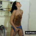 Teen With Hairy Pussy Shits Smears And Masturbates During Vintage Scat Porno